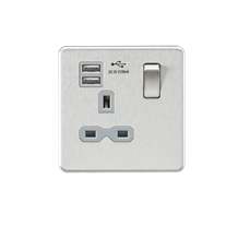 Screwless 13A 1G switched socket with dual USB charger (2.1A) - brushed chrome w
