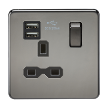 SFR9901BN Screwless 13A 1G switched socket with dual USB charger (2.1A) - black