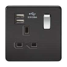 Screwless 13A 1G switched socket with dual USB charger (2.1A) - matt black with