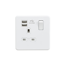Screwless 13A 1G switched socket with dual USB charger (2.1A) - matt white