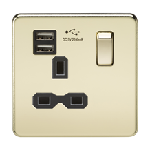 Screwless 13A 1G switched socket with dual USB charger (2.1A) - polished brass w