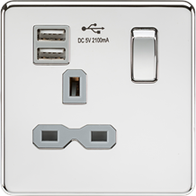 SFR9901PCG Screwless 13A 1G switched socket with dual USB charger (2.1A) - polis