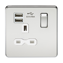 Screwless 13A 1G switched socket with dual USB charger (2.1A) - polished chrome