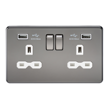 Screwless 13A 2G switched socket with dual USB charger (2.1A) - black nickel wit