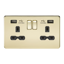 Screwless 13A 2G switched socket with dual USB charger (2.1A) - polished brass w