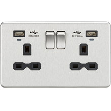 SFR9904NBC 13A 2G Switched Socket, Dual USB (2.4A) with LED Charge Indicators -
