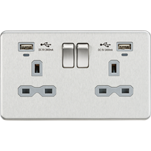 SFR9904NBCG 13A 2G Switched Socket, Dual USB (2.4A) with LED Charge Indicators -