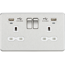 SFR9904NBCW 13A 2G Switched Socket, Dual USB (2.4A) with LED Charge Indicators -