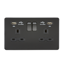 SFR9904NMBB 13A 2G Switched Socket, Dual USB (2.4A) with LED Charge Indicators -