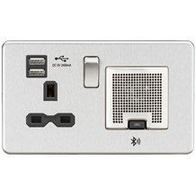 SFR9905BC Screwless 13A socket, USB chargers (2.4A) and Bluetooth Speaker - Brus