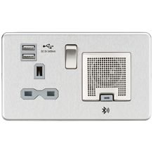 SFR9905BCG Screwless 13A socket, USB chargers (2.4A) and Bluetooth Speaker - Bru
