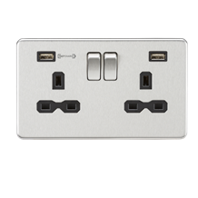 SFR9906BC 13A 2G DP Switched Socket with Dual USB Charger (Type-A FASTCHARGE por
