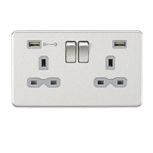 SFR9906BCG 13A 2G DP Switched Socket with Dual USB Charger (Type-A FASTCHARGE po