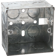 1G 47mm Galvanised Steel Box with one adjustable lug and one brass terminal