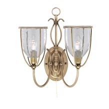 Silhouette Antique Brass 2 Light Wall Bracket With Clear Seeded Glass Shades