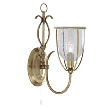 Silhouette Antique Brass Wall Light With Clear Seeded Glass Shade
