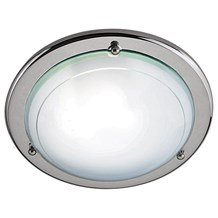 Silver Flush Light With White & Clear Glass Diffuser