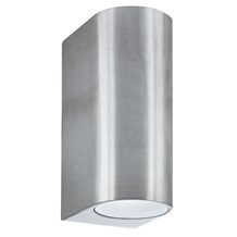 Silver Ip44 2 Light Outdoor Light With Fixed Glass Lens