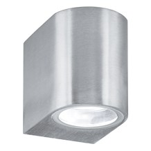Silver Ip44 Outdoor Light With Fixed Glass Lens