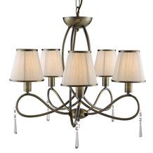 Simplicity Antique Brass 5 Light Fitting With Glass Drops & White String Shades