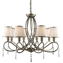 Simplicity Antique Brass 8 Light Fitting With Glass Drops & White String Shades