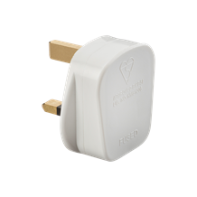 13A Plug Top with 3A fuse - White (Screw Cord Grip)