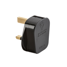 13A Plug Top with 13A fuse - Black (Screw Cord Grip)