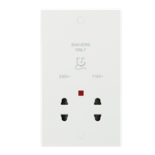 115/230V Dual Voltage Shaver Socket with Neon