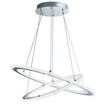 Solexa Led 2 Hoops Chrome Pendant Light With Frosted Acrylic Rings