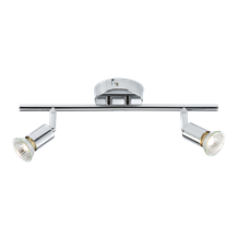 230V GU10 2 x 50W Chrome Twin Adjustable Spotlight Bar