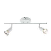 230V GU10 2 x 50W White Twin Adjustable Spotlight Bar