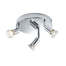 230V GU10 3 x 50W Chrome Triple Adjustable Spotlight