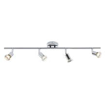 230V GU10 4 x 50W Chrome Quad Adjustable Spotlight Bar