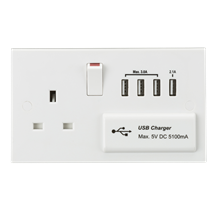 13A Switched Socket with Quad USB Charger 5V DC 5.1A