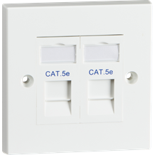 Twin CAT5e Flush Mounted Socket