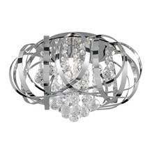 Tilly Chrome 3 Light Fitting With Inter-twining Strips & Clear Glass Balls