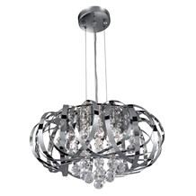Tilly Chrome 5 Light Fitting With Inter-twining Strips & Clear Glass Balls