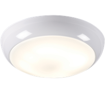IP44 16W HF Polo Bulkhead with Opal Diffuser and White Base