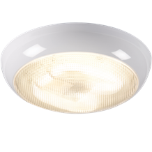 IP44 16W HF Polo Bulkhead with Prismatic Diffuser and White Base