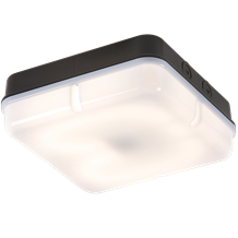 IP65 28W HF Square Emergency Bulkhead with Opal Diffuser and Black Base