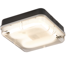 IP65 28W HF Square Emergency Bulkhead with Prismatic Diffuser and Black Base