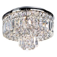 Vesuvius Chrome 5 Light Fitting With Clear Crystal Coffin Drops