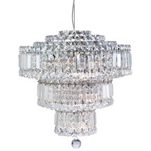 Vesuvius Chrome 9 Light Chandelier With Clear Crystal Coffin Drops