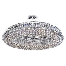 Vesuvius Chrome Oval 10 Light Chandelier With Clear Crystal Coffin Drops