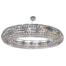 Vesuvius Chrome Oval 24 Light Chandelier With Clear Crystal Coffin Drops