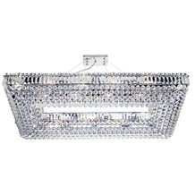 Vesuvius Chrome Rectangle 24 Light Chandelier With Crystal Coffin Drops