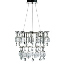 Vino 2 Tier Led Crystal Ceiling Fitting With Wine Glasses