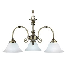 Virginia Antique Brass 3 Light Fitting Complete With White Scavo Glasses