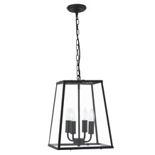 Voyager Matt Black Tapered 4 Light Lantern With Clear Glass Shade