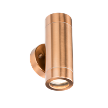 230V IP65 GU10 2 x 35W Up & Down Wall Light  - Copper Colour